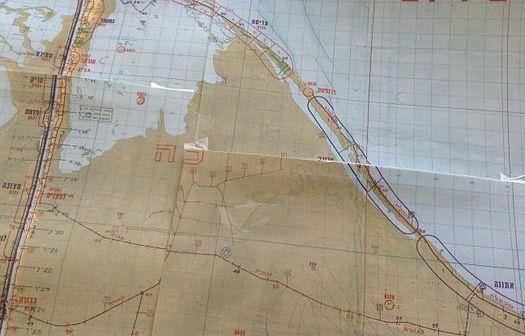"""מעוז בודפשט במפת הקוד הצהלית """"סיריוס. המעוז הקרוב ביותר לפורט סעיד על חוף הים התיכון"""