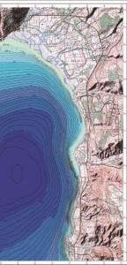 מפת עומקים בימת הכנרת מול החוף הסורי