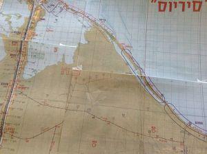 מפת סיריוס ועליה סימון מוצב בודפשט על חוף הים
