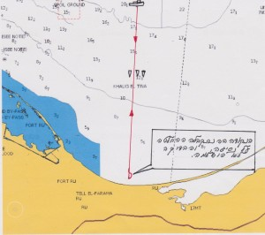 נסיון לבדיקת עומקים  במפרץ א-טינה