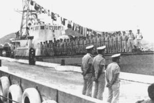 """אח""""י רשף מגיעה לרציף בשארם א-שייח' 1 אפריל 1974"""