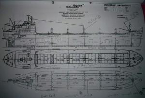 תרשים לפני הארכת האניה