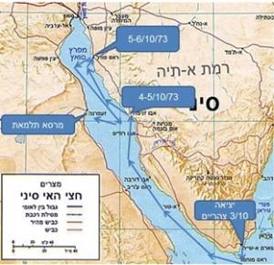 נתיב הספינות במפרץ סואץ מ3-6 באוקטובר 1973
