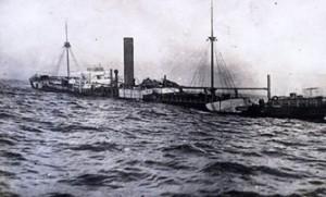 אוניית סוחר מוטבעת בים התיכון