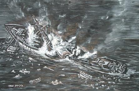 """המשחתת אילת מותקפת וטובעת -ציור של ג'קי כהן לפי התיאור בספרו של משה לוי """"הנשמה ה-48"""" 1968"""