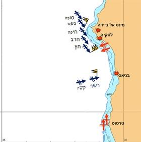 מפת אזור קרב הפגזת החוף הסורי ב-ליל 11-10 אוקטובר 1973