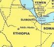 מפה של אתיופיה עם הנמלים מסאווה ואסאב בים האדום