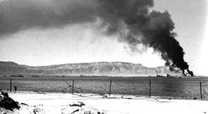 """בתי הזיקוק המצריים בוערים כתוצאה מתקיפת חיל האוויר ב""""מבצע אבוקה"""""""