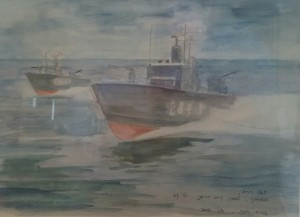 """הטרפדות חוזרות מקרב רומני 12 ביולי 1967 ציור של תא""""ל דימ' אריה רונה"""