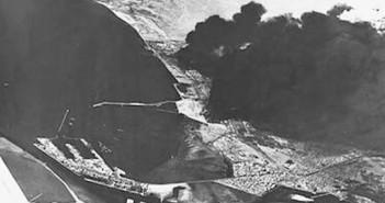 נמל סואץ ובתי הזיקוק הבוערים במבצע אבוקה 24 באוקטובר 1967