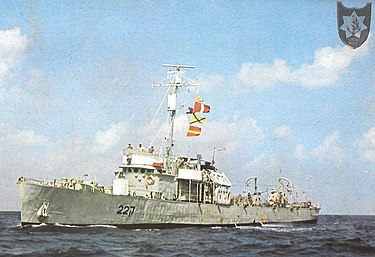 """הקורבטה אח""""י נגה (ק-22) שהובילה את סירות הגומי לפעולה"""