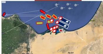 התפתחות קרב רס בירון בתיאור המצרי. נתיב החזרה לבסיס והקרב שהתנהל. הספינות הכחולות עם סמל מגן דוד – ספינות חיל הים