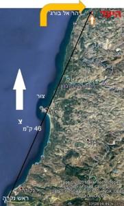 """היעד במרחק 46 ק""""מ מגבול ישראל"""