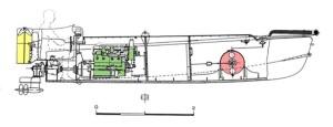 תרשים סירת נפץ ששימשה להובלה ואיסוף הצוללים