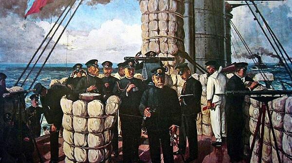 אדמירל טוגו וקציניו על גשר אוניית הדגל היפנית מיקסה