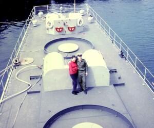 צבי קרני ורעייתו על סיפון הספינה בשרבורג 1968
